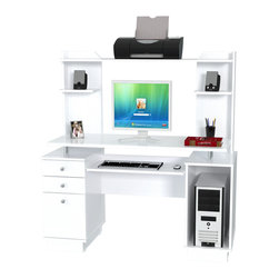 Inval America - Computer Workcenter/Credenza with Hutch - Create an efficient work center with this functional desk. From the sliding keyboard tray to the shelving available on the hutch, this workstation lets you keep all your tools and essentials nearby.