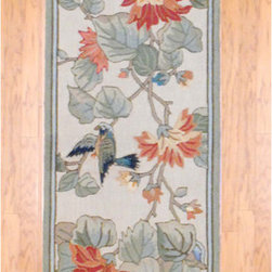 Asian Hand-Tufted Multicolor Floral Bird Wool Rug - Just like most chinoiserie decor objects, a bird and floral motif rug like this would not go unnoticed in a room.