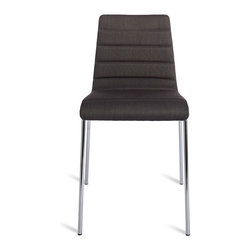 Blu Dot - Blu Dot Roy Chair, Gun Metal - Roy is a solid workhorse for the office, home or contract application. A padded and upholstered seat keeps things on the softer side, while the steel legs provides sure footing. Stackable.Fabric: 100% polyester, Legs: Chrome-plated steel