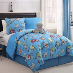 Victoria Classics Mr. Robot Reversible Comforter Set - Hello, robot -- boys and girls will both love the Victoria Classics Mr. Robot Reversible Comforter Set. This bedding set has a bright blue background with colorful robot design on one side and a geometric design on the reverse. A matching standard pillow sham and adorable stuffed robot come with the reversible comforter. This kid's comforter set is made of soft and durable polyester, is machine-washable on cold, and comes in your choice of size.