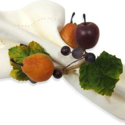 Excell Home Prod. /kemp & Beatley - Napa Wreath Napkin Ring - Set the table with a little Napa Valley flair. Antique fruits, berries and leaves adorn your autumn table in this wreath construction napkin ring.