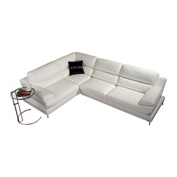 VIG Furniture - K8448 White Eco-Leather Sectional Sofa - The K8448 sectional sofa will be the perfect addition for any smaller area looking for a touch of modern design. This sectional comes upholstered in a beautiful white eco-leather in the front where your body touches. Skillfully chosen match material is used on the back and sides where contact is minimal. High density foam is placed within the cushions for added comfort. The sectional features soft curves and a unique squared base that adds to the overall look.