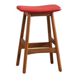 Homelegance - Homelegance Ride Counter Height Stool with Red Seat [Set of 2] - A fun and unique way to add a little color to your casual recreation or dining room is the Ride collection. Offered in a variety of contemporary colors shapes and sizes each barstool features a gas lift mechanism that allows for the stool to rise and descend with the simple touch of a lever. Sold in 2 piece per carton.