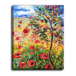 DiaNoche Designs - DiaNoche Canvas Wall Art by Karen Tarlton Provence Poppies - DiaNoche Designs works with artists around the world to create fabulous and unique home decor products.  Canvas Wall Art is the finishing touch to every home, office, nursery, bedroom and living space.  Each artistic wall hanging is a reprint of an original art piece and comes ready to hang with hooks and a backing for a clean look and feel.  The inks are UV tested to ensure a fade free lifetime and can be cleaned with a damp cloth.  These are VERY sturdy creations that adds a touch of your class!  Choose unframed or a colored black or walnut fram made from a textured recycled plastic.