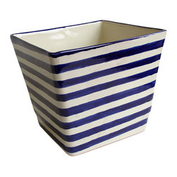 Square Striped Planter - Come home to a relaxing patio where verdant tendrils pour out of this captivating striped planter. The contrast between bold stripes and the beauty of nature will transform an ordinary space into an extraordinary one. Its square shape and drainage hole ensure that your favorite plants will flourish in cool contemporary style.