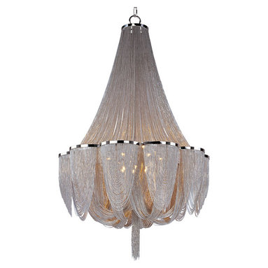 Chantilly 14 Light Chandelier by Maxim Lighting - Chantilly collection features metal frames gracefully draped with nickel finished jewelry chain. Metal trim rings of polished nickel add sharp contrast to the softness of the chain, which conceals the xenon light source.
