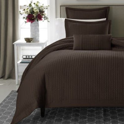 Real Simple - Real Simple Retreat Standard Pillow Sham in Chocolate - Complete the Retreat duvet cover with this coordinating standard pillow sham, featuring the same color and geometric pattern as the cover with a decorative flange. 100% cotton sateen, 300 thread count.