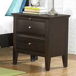 Homelegance - Homelegance Verano 2 Drawer Nightstand in Espresso - Appropriate for a number of bedroom designs, the Verano Collection is the perfect permanent canvas for your ever-evolving personal style. The rich espresso finish is delicately accented with discrete brushed nickel knob hardware and stylish framing that carries from the bed to the mirror in this modern transitional set. The pull-out tray on the nightstand provides additional space for your bedside needs. - 1733-4.  Product features: Verano Collection; Espresso Finish; Delicately accented with discrete brushed nickel knob hardware; Stylish framing; Pull-out tray; 2 Drawers. Product includes: Nightstand (1). 2 Drawer Nightstand in Espresso belongs to Verano Collection by Homelegance.