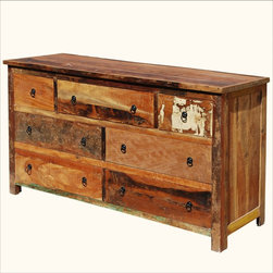 Rustic Reclaimed Wood Handcrafted 7 Drawer Dresser - Reclaimed wood adds a history and spirit to furniture that can't be copied.