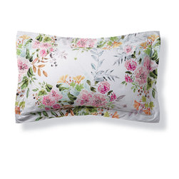 """Frontgate - Giuliana Floral Watercolor Pillow Sham - Standard - 300TC long staple cotton percale. The percale weave produces a strong, long-lasting fabric. Feels smooth, cool and crisp to the touch. Sophisticated reactive printing technique allows the dye to penetrate the fibers of a fabric, leaving them brilliantly colored wash after wash. Duvet Cover features a simple hem with button closure and ties on inside four corners to prevent duvet from shifting. As fresh as a garden in spring, this watercolor-inspired bedding mimics the elegant brushstrokes and muted pastels of floral paintings. Designed and crafted in Italy exclusively for Frontgate, this 300-thread count collection is woven of long-staple cotton that is mercerized for superior softness and sheen.  .  .  .  .  . Shams are finished with a single needle topstitch, 2-1/2"""" flange border with mitered corners . Envelope closure in shams to conceal pillow . Pairs with our Vera quatrefoil sheeting and Resort Matelasse coverlet . Made in Italy."""