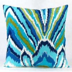Peacock Throw Pillow - Blue -