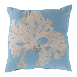 """Surya - Coral Square Decorative Pillow RG-050 - 20"""" x 20"""" - Enjoy a tranquil reminder of the beach in your space with this cool coral pillow. Featuring a bold beige coral design splashed pristinely against a tantalizing teal backdrop, this piece is sure to spice up your space. This pillow contains a Virgin Poly Styrene Bead fill providing a reliable and affordable solution to updating your indoor or outdoor decor."""
