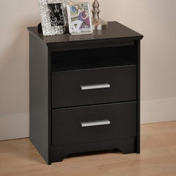 Coal Harbor 2 Drawer Tall Nightstand with Open Shelf - Black - Whether you have glasses or contacts or you're one of those lucky few with perfect vision, when you open your eyes you'll have everything you need right at hand on the Coal Harbor 2 Drawer Tall Nightstand with Open Shelf – Black. This convenient nightstand has a body of black-laminated composite wood that features an open storage cubby that's perfect for those must-have items. Below that you'll find a pair of deep drawers, each with a matte nickel pull and lacquered hardwood sides. The drawers move smoothly on metal guides with safety-stops. The flush drawer-faces and gentle bevels on the top edge give this piece a quiet, yet modern style.About Prepac ManufacturingPrepac is a successful designer and manufacturer of functional and stylish RTA (ready to assemble) home furniture. They have been manufacturing state-of-the-art home furnishings and storage products in the heart of the forest-rich West Coast since 1979.To ensure that customers receive the highest quality products, Prepac's design, engineering, production, testing and packaging are all performed in-house. Each component of every product is carefully engineered to be produced with minimal handling, without compromising quality, function and value. Prepac's state-of-the-art materials management system tracks every component from cutting through to packaged goods, inventory support, and fulfillment to final delivery.Most of Prepac's RTA products are made from a combination of engineered woods. Engineered Wood is a mixture of high quality hard and soft wood materials, which generally come from the surplus of original lumber processing. These materials are bonded together with a synthetic resin, in a process under high heat and pressure to make a very stable, environmentally friendly product. The result is dense, strong panels, which are then laminated with durable, attractive finishes.
