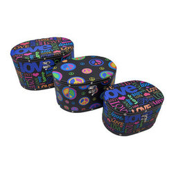 Set of 3 Peace and Love Hippie Themed Oval Shaped Boxes - These oval boxes provide a little extra storage space and add a fun accent to your home. They are perfect for storing small keepsakes, craft and hobby supplies, and collections of small items in an attractive way, so you don`t have to hide the boxes in a closet. The boxes are made of wood and covered with a canvas material that features colorful peace and love graphics. The lids are hinged and have clasps to secure them. The largest box measures 14 inches long, 10 1/2 inches wide, 8 inches tall, the middle one is 12 inches long, 9 inches wide, 6 3/4 inches tall, and the smallest measures 10 inches long, 7 inches wide, 5 1/2 inches tall. They nest for storage purposes, and look great stacked in the corner of a room or on a table or shelf.