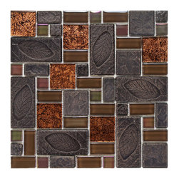 Somertile - SomerTile 11.75x11.75-in Oasis Versailles Walnut Glass/ Ceramic Mosaic Tile (Pac - These trendy ceramic mosaic tiles will add class and artistic flair to your home. Easy-to-install 11.75' x 11.75' x .375' mesh-mounted tiles made from grade 1 first-quality product, smooth glass and ceramic, all with a slight variation in tone.
