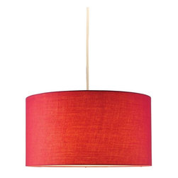 Adesso - Adesso Harvest Drum Pendant, Red - Drum pendant consists of hardback red fabric. 15' white portable cord set with socket and hanging apparatus included. Line switch near the plug. 150 Watt incandescent or CFL bulb. 8 in Height, 15 in Diameter