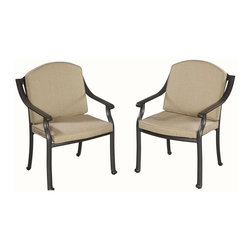 HomeStyles - Upholstered Arm Chair - Set of 2 - Set of 2. Includes woven sunbrella weather resistant antique gold fabric cushion. Extruded aluminum frame with nylon glides on all legs. Gold flecks is sealed with clear coat to protect the finish. Made from cast aluminum. Chocolate metallic powder coated color. Arm height: 25.25 in. H. Seat height: 16 in. H. Overall: 29.25 in. W x 25.5 in. D x 36 in. H. Warranty. Assembly RequiredHome styles covington outdoor dining collection gives the beauty of ornately designed pieces without the high cost. Chairs are oversized for added comfort. You can choose to use the back cushions, or they can be removed to display the intricate decorative designed back.