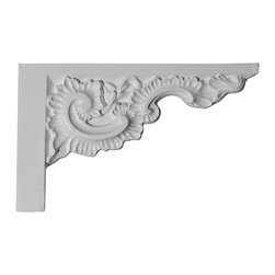 """Ekena Millwork - 12""""W x 7 7/8""""H x 7/8""""P Ashford Stair Bracket, Right - 12""""W x 7 7/8""""H x 7/8""""P Ashford Stair Bracket, Right. With the beauty of original and historical styles, decorative stair brackets add the finishing touch to stair systems. Manufactured from a high density urethane foam, they hold the same type of density and detail as traditional plaster stair bracket products. They come factory primed and can be easily installed using standard finishing nails and/or polyurethane construction adhesive."""