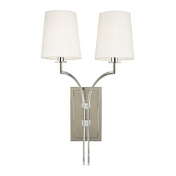 Hudson Valley - Two Light Wall Sconce, Antique Brass - Bright and reflective, Polished Nickel invokes a current sensibility that is tempered by its welcoming, warm tone. Flat planes possess mirror-depth in this plating, while curves show their lively contours. Polished Nickel also highlights the versatility