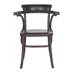 Safavieh - Kenny Arm Chair - Straddling country, retro and industrial chic styles, the Kenny arm chair is reminiscent of Thonet bentwood seating. Crafted of oak in dark chestnut with antiqued black faux leather upholstery, this classic dining chair is finished with brass nailheads. The Kenny arm chair is ideal in a kitchen breakfast nook or dining room.