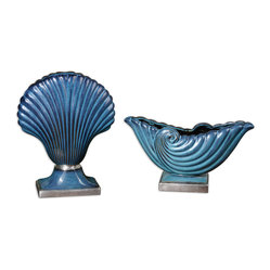 Uttermost - Cobalt Shells Vases, Set of 2 - You'll be amazed at how small, decorative touches brighten your room. Add a punch of color with these lovely shell vases in cobalt blue. The sophisticated styling and metallic silver accents draw the eye and add a touch of artistic flair to a bookcase or end table.