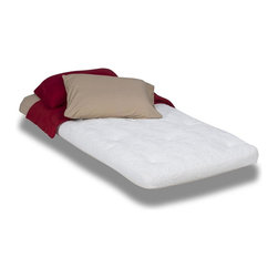 """Wolf Corporation - Mattress Topper in White (Full) - Choose Size: FullBedding not included. Enhances the surface comfort of your current mattress without a full replacement. May extend the life of your current mattress if it is in good condition. Warranty: 3 years. No assembly required. Twin: 75 in. L x 39 in. W x 5 in. H (40 lbs). Twin-XL: 80 in. L x 39 in. W x 5 in. H (45 lbs). Full: 75 in. L x 54 in. W x 5 in. H (50 lbs). Queen: 80 in. L x 60 in. W x 5 in. H (55 lbs). King: 80 in. L x 76 in. W x 5 in. H (60 lbs)The Maui is Wolf Corporation's latex topper that has a 1 in. latex core placed on top of Wolf's own """"cloud"""" (a foam replacement pad made out of cotton and polyester), entirely wrapped in Wolf Corporation's cotton. Latex is a natural, biodegradable product. Latex provides a comfortable and supportive core for this topper. It provides a medium-firm feel and has good cushioning for pressure points. It damps the effect of movements during sleep, which means less partner disturbance. Latex is also hypoallergenic meaning less loss of sleep due to allergies. When combined with our 100% cotton cover this topper provides a natural alternative."""