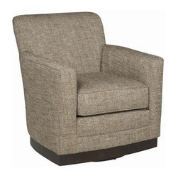 "Paris Swivel Chair - Dimensions: 32.5""H x 30.5""W x 32.5""D. Available in customizable upholstery and wood finish."