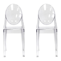 Ariel - Set of 2 Victoria Style Ghost Dining Chair Clear Color - Stack and store this chair set easily with its innovative design. Perfect for relaxing outdoors or to provide extra seating for the dining area, the Victoria Style Ghost Dining Chair coordinates with any indoor or outdoor color scheme. Made from aesthetically pleasing transparent polycarbonate construction, the ghost chair is more solid and more rigid than regular polypropylene chairs. Also features non-marking feet that help protect sensitive floors.