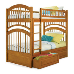 Atlantic Furniture - Windsor Twin Over Twin Bunk Bed w Raised Pane - Finish: Antique WalnutNOTE: ivgStores DOES NOT offer assembly on loft beds or bunk beds. Includes upper and lower panels, rails, clip-on ladder, 2 slat kits and raised panel drawers. Mattress not included. Solid hardwood Mortise & Tenon construction. 26-Steel reinforcement points. Made of premium, eco-friendly hardwood with a 5-step finishing process. Boasts long arches and 3 in. corner posts. Designed for durability. Guard rails match panel design. Meet or exceed all ASTM bunk bed standards, which require the upper bunk to support 400 lbs.. Pictured in Caramel Latte finish. 1-Year manufacturer's warranty. Clearance from floor without trundle or storage drawers: 11.25 in.. 79.75 in. L x 42.75 in. W x 71 in. H. Raised panel drawers: 74 in. L x 24.38 in. W x 12 in. H. Bunk Bed Warning. Please read before purchase