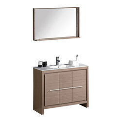 "Fresca - Fresca Allier 40"" Modern Bathroom Vanity - Grey Oak - The Fresca 40"" Allier is a sleek, modern free standing vanity with plenty of storage space. This model is accented nicely with a matching mirror with small shelf."