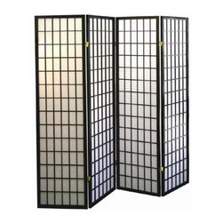 ORE International - 4-Panel Folding Room Divider in Black & White - 4 Paper panels. Folds for easy storage. Wood veneer frame . Made of wood composite. 60 in. L x 10 in. W x 70 in. H (19 lbs.)Define a space or create privacy with this Japanese-inspired room divider. Crisp, clean design lines bring a sophisticated style to this folding panel Shoji screen, an Asian inspired accent piece that will easily enhance your home's decor. Perfect for defining separate spaces in large rooms,