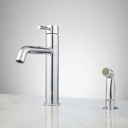 Cormac Single-Hole Kitchen Faucet with Side Spray - Save space on your kitchen counter while adding loads of style with the Cormac Kitchen Faucet, made of solid brass.