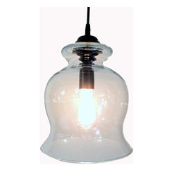 BoothBay Harbor. Clear PENDANT Light with Edison Bulb, Antique Black - A Large dramatic light. A look of today's lighting with a touch of vintage.