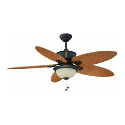 """Litex Earhart Collection 52"""" Ceiling Fan, Oil Rubbed Bronze - Keep rooms cool with this ceiling light fan. Neutral fan blades provide a warm tone and also make it easier to match decors."""