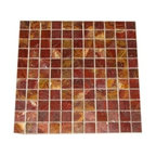 Red onyx polished square pattern mosaic tile, Sample - 1 in. x 1 in. Red Onyx Polished Square Pattern Onyx Mosaic Tile is a great way to enhance your decor with a traditional aesthetic touch. This polished mosaic tile is constructed from durable, impervious onyx material, comes in a smooth, unglazed finish and is suitable for installation on floors, walls and countertops in commercial and residential spaces such as bathrooms and kitchens.