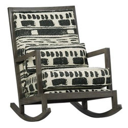 Jeremiah Fabric Back Rocker - Our exclusive heirloom-quality rocker with fully upholstered back panel is handcrafted in America for generations of enjoyment. The classic rocker frame is solid oak with a warm smoke finish, while the textural black-and-white cotton-wool fabric with exposed seams features a rustic-meets-modern abstract motif at home in cabin or condo. This striking fabric is woven on handlooms at the Oriole Mill in the historic downtown of Hendersonville, North Carolina, near the furniture capital of Asheville. Rectangular box pillow adds extra comfort.
