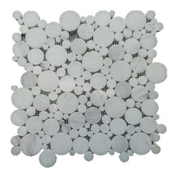 """GL Stone - White Polished Circle Mosaic Tile, 1 Carton ( 11 Sheets ) - This circles mosaic tile is random round pieces on 12.0"""" X 12.0"""" mesh tile sheet. The circle mosaic comes with polished tile and grey vein natural color. The white mosaic is a great way to enhance the decor of interior project, such as bathroom floor,shower surround, kitchen floor, dining room, balcony,etc."""