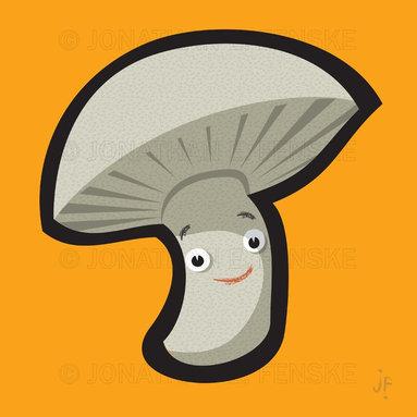 Happy Mushroom in Orange Modern Art Canvas -