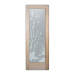 """Bathroom Doors - pd priv Interior Glass Doors Frosted Ocotillo - CUSTOMIZE YOUR INTERIOR GLASS DOOR!  Interior glass doors or glass door inserts.  .Block the view, but brighten the look with a beautiful interior glass door featuring a custom frosted privacy glass design by Sans Soucie! Suitable for bathroom or bedroom doors, there are no clear areas on this glass.  All surface areas are etched/frosted to be 100% opaque.  Note that anything pressed up against the glass is visible, and shapes and shadows can be seen within approx. 5-12"""" of the glass.  Anything 5-12"""" from the glass surface will become obscured.  Beyond that distance, only lights and shadows will be discernible. Doors ship for just $99 to most states, $159 to some East coast regions, custom packed and fully insured with a 1-4 day transit time.  Available any size, as interior door glass insert only or pre-installed in an interior door frame, with 8 wood types available.  ETA will vary 3-8 weeks depending on glass & door type........  Select from dozens of sandblast etched obscure glass designs!  Sans Soucie creates their interior glass door designs thru sandblasting the glass in different ways which create not only different levels of privacy, but different levels in price.  Bathroom doors, laundry room doors and glass pantry doors with frosted glass designs by Sans Soucie become the conversation piece of any room.   Choose from the highest quality and largest selection of frosted decorative glass interior doors available anywhere!   The """"same design, done different"""" - with no limit to design, there's something for every decor, regardless of style.  Inside our fun, easy to use online Glass and Door Designer at sanssoucie.com, you'll get instant pricing on everything as YOU customize your door and the glass, just the way YOU want it, to compliment and coordinate with your decor.   When you're all finished designing, you can place your order right there online!  Glass and doors ship worldwide, custom pack"""