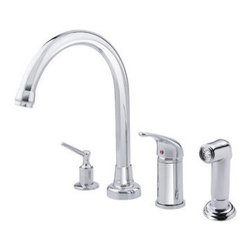 Danze Inc - Lead Law Compliant 1 Lever Four Hole Kitchen Faucet Stainless Steel 2.2 GPM - Ceramic Disc Valve
