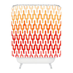 DENY Designs - Arcturus Warm 1 Shower Curtain - There's nothing quite like a hot shower. And the fiery tones and bold design of this shower curtain bring the heat before you even turn on the tap. Start something steamy today!