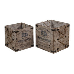 Uttermost - Bouchard Crates Set of 2 - Lightly stained, rustic solid fir wood with wrought iron metal and hemp rope details.