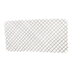"Master Garden Products - Willow Expandable Trellis Fence, 24""H x 72""L - Our expandable willow flex trellis fences are excellent as a divider and climbing vine support. Each segment of our lightweight trellis stretches from roughly 3' to 8' ft long depending on the height of the fence, (the fence becomes shorter as it's stretched longer). Constructed from diagonally attached willow sticks, these fences are extremely durable, so count on them to enhance your garden for many years to come. The height of our standard measurement in our pricing is when the fence is expands to 72"" wide with standard opening of 7 measured diagonally. The height may vary depending on the width of your extension in practical use.  Diamond openings expand to 3 inches."