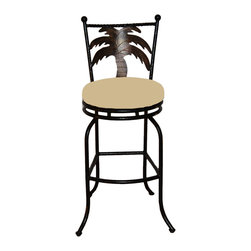 "Surf Side Patio - Tahiti Swivel Bar stool , Tresco Linen, 30"" Bar Height - Accent your breakfast bar, home bar, tiki bar or patio with the hand crafted, wrought iron Tahiti Swivel Bar stool with a beautiful Palm Tree gracing the back of the chair.  Made from thick guage, powder coated wrought iron, these gorgeous bar stools swivel 360 degrees and bring a tropical touch to any area of your home, outdoor or indoor."