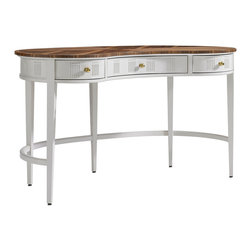 "Stanley Furniture - Stanley Furniture Charleston Regency Pinckney Kidney Desk Ropemakers White - Steeped in history, the Stanley Furniture Charleston Regency collection offers a modern take on traditional form. Graceful and elegant, the Pinckney desk presents show-stopping style with a unique kidney-shaped silhouette. Atop beautifully curving legs, this work station features a Ropemakers White finish, sophisticated apron and rich walnut top. Three fully-extending glide drawers sport intricate carvings for eye-catching office storage.54""W x 29""D x 30""H."