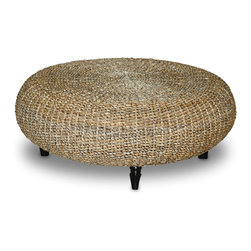Jeffan - Riau Round Coffee Table - Accent any space with this handsome handwoven round coffee table. Made from rattan and teakwood, this unusual piece is weather resistant, making it perfect for your patio or porch. The two-toned color and natural finish blend flawlessly into any decor.