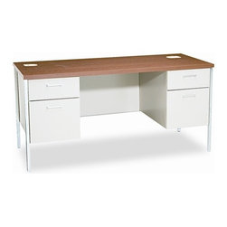 HON - Metro Kneespace Credenza Computer Desk with 4 Drawers - Classic, no-nonsense style for the practical, well-organized office. Durable laminate top helps resist damage. One box drawer and one file drawer in each pedestal. File drawers extend fully; box drawers extend 3/4. Wire grommets offer convenient cable management. 3/4-height modesty panel provides privacy. Flush drawer pulls. Features: -Drawer types: Box, File.-Top material: Laminate.-Frame material: Metal.-For Use With: Keyboard/Mouse Platform HONHKB900P.-Number of Pedestals: 2.-Pedestal Type: 3/4 Height, Left, Right.-Global Product Type: Credenzas.-Compliance, Standards: Meets or exceeds ANSI/BIFMA standards.-Number of drawers: 4.-Product is in compliance with the governmental EPA/CPG standards for environmental friendly products.-Product is made of at least partially recycled material.-Warranty:The HON Limited Lifetime Warranty..-Distressed: No.-Collection: Metro Classic Series.-Country of Manufacture: United States.Dimensions: -Width: 60 in.-Height: 29.5''.-Depth: 24''.-Overall Product Weight: 165 lbs.