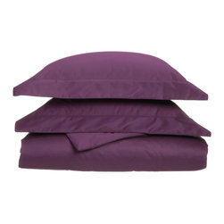 1000 Thread Count King/California King Duvet Cover Set Solid Cotton Rich - Plum - Dress up your bedroom decor with this luxurious 1000 thread count Cotton Rich duvet cover set. A superior blend of materials makes these duvet cover soft, easy to care for and wrinkle resistant. Each duvet cover set is made of 55% Cotton and 45% Polyester. Set includes One Duvet Cover 106x92 and Two Pillow-shams 20x36 each.