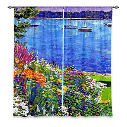 "DiaNoche Designs - Window Curtains Unlined - David Lloyd Glover Sailboat Bay Garden - Purchasing window curtains just got easier and better! Create a designer look to any of your living spaces with our decorative and unique ""Unlined Window Curtains."" Perfect for the living room, dining room or bedroom, these artistic curtains are an easy and inexpensive way to add color and style when decorating your home.  This is a tight woven poly material that filters outside light and creates a privacy barrier.  Each package includes two easy-to-hang, 3 inch diameter pole-pocket curtain panels.  The width listed is the total measurement of the two panels.  Curtain rod sold separately. Easy care, machine wash cold, tumbles dry low, iron low if needed.  Made in USA and Imported."