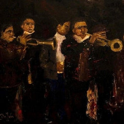 """""""Musicos"""" Artwork - A street musical band playing in a quaint south american village."""